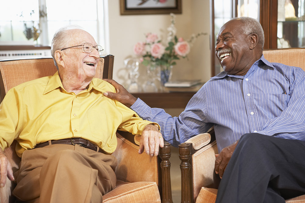 Two men laughing