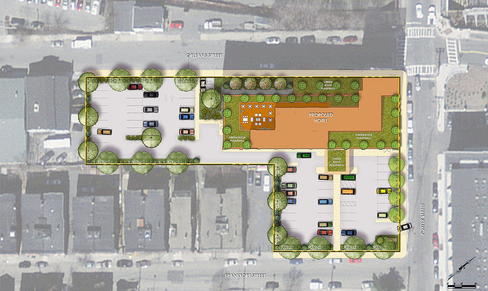 EAST BOSTON HOTEL CONVERSION  BPDA-approved site plan rendering for the conversion of an existing building in East Boston to a boutique hotel