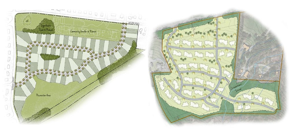 "SITE FEASIBILITY STUDIES  We work with clients to study development potential of their sites, using GIS data available from the State and municipalities. We are able to take an holistic approach to site master planning and to map potential constraints and permitting needs at the initiation of a project or prior to purchase. These GIS capabilities also allow us to do broad studies within municipalities for site selection purposes.  Working with development teams, we are able to prepare feasibility studies allowing developers to determine potential site yields, assist municipalities in the study of flexible or ""cluster"" zoning, and explore site plan options beyond the standard subdivision requirements. Our site constraints and opportunities plans and plan renderings are often used for early meetings with landowners, municipal agencies, project abutters, public hearings, and as marketing tools once the project is successfully permitted."