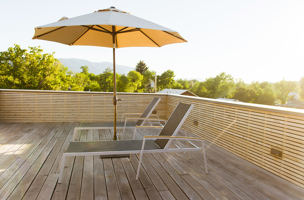 We are summer ready here, ready for some floating and sunshine. Check out this rooftop deck we did on a custom build in Livingston, Montana.