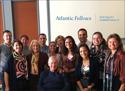 Atlantic Fellows for Equity in Brain Health at GBHI joined by supporters Chuck and Helga Feeney, and their daughter Juliette Timisit. Photo: Scott MacDonald
