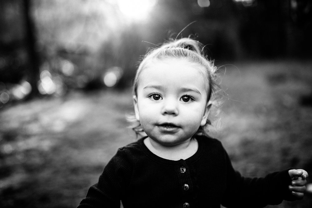 Black & White Documentary Toddler Portrait by Tuolumne River