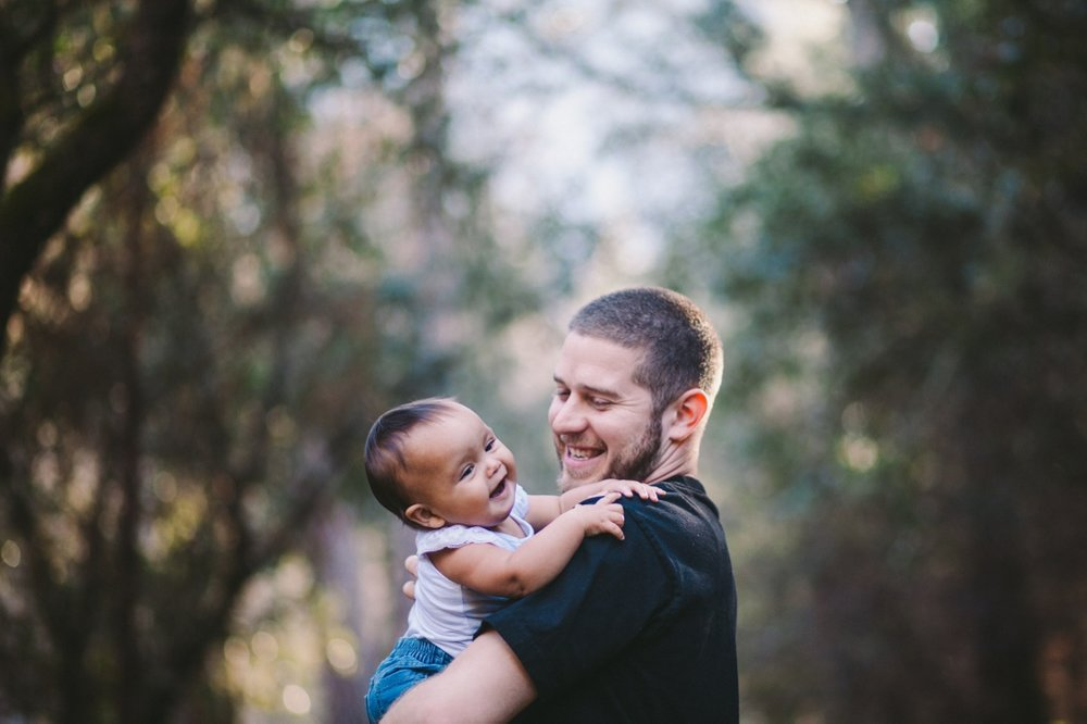 Adorable Father & Toddler Daughter Laughing Portrait California