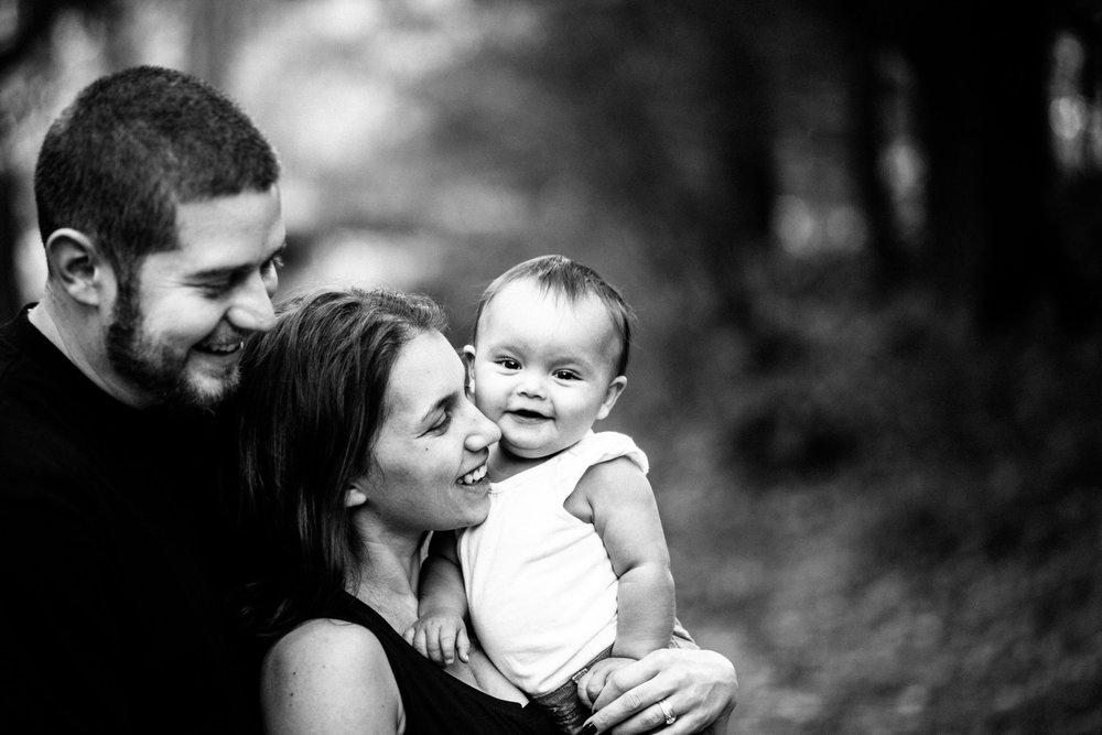 Black & White Relaxed Family Portrait Mother, Father & Daughter California