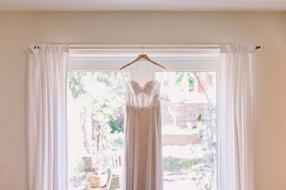 Anthropologie BHLDN Lorena Gown Wedding Dress Hanging - Real Wedding