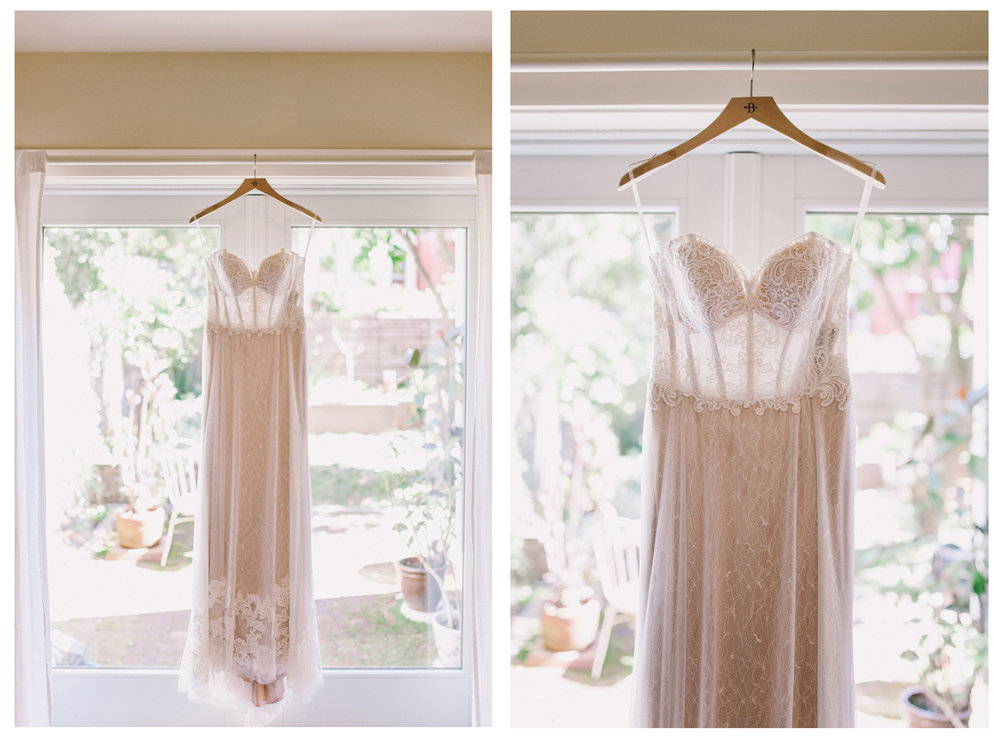 Anthropologie BHLDN Lorena Gown Wedding Dress Hanging in Front of Window