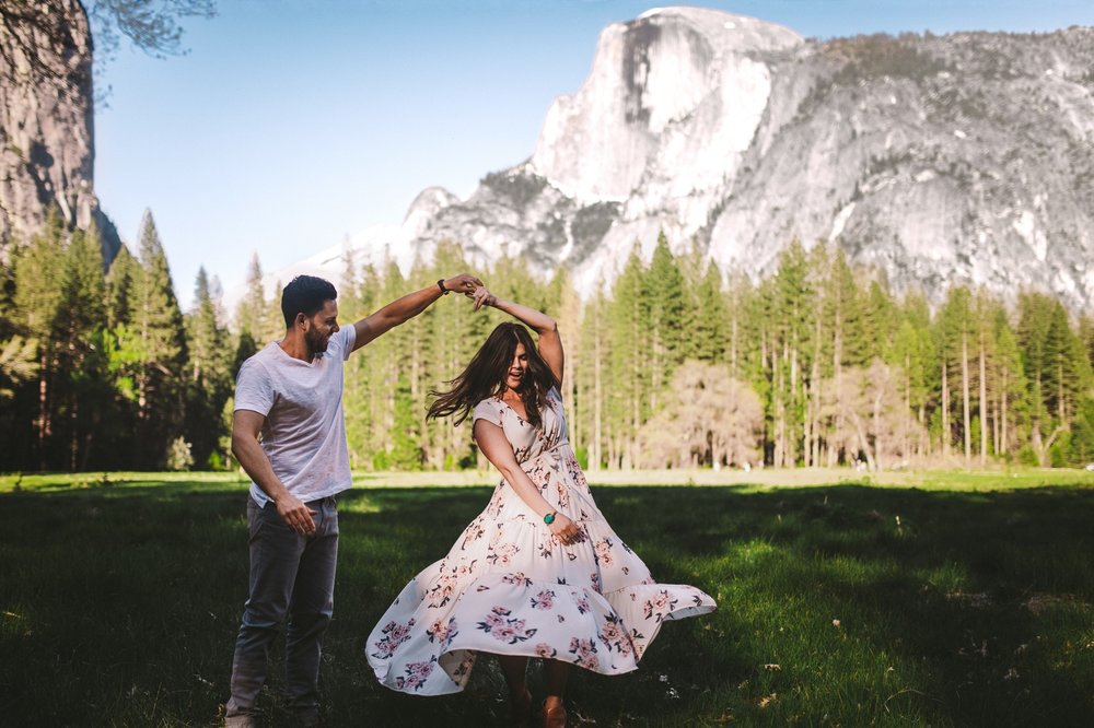 Couple Dancing in Front of Half Dome Yosemite