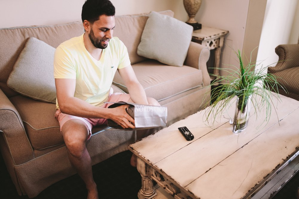 Groom Opening Wedding Watch Gift from Bride in the Morning Prep