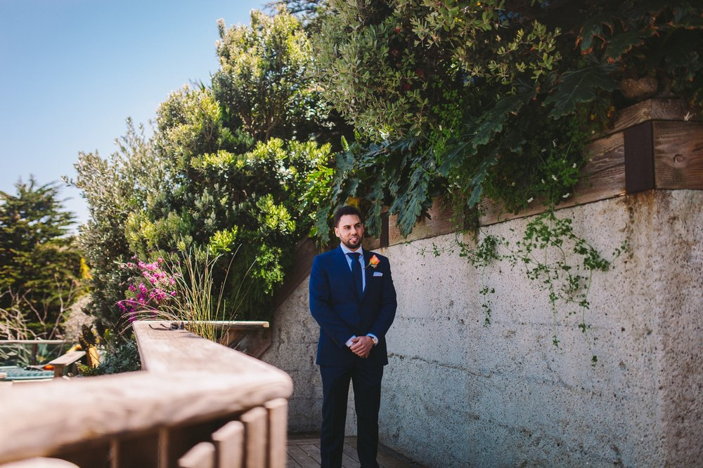 Groom Waiting for Bride in First Look Pacifica