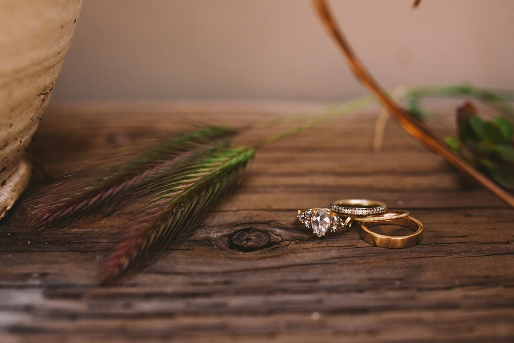 Real Wedding Ring Rustic Wedding Shot Pear Diamond Cut
