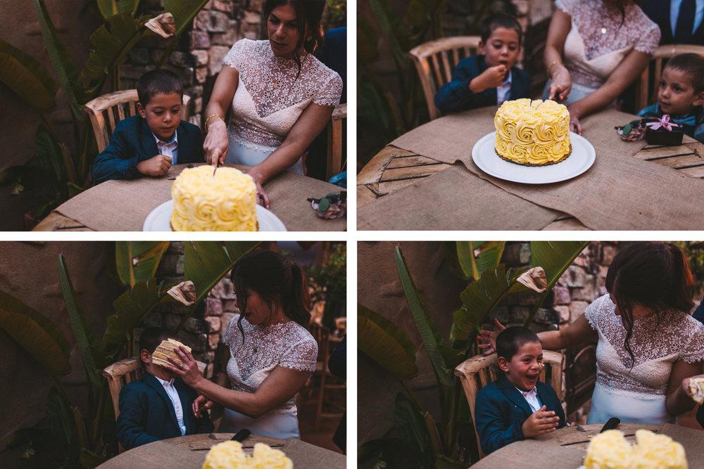 It's Italia Half Moon Bay Wedding Reception Cake Cutting