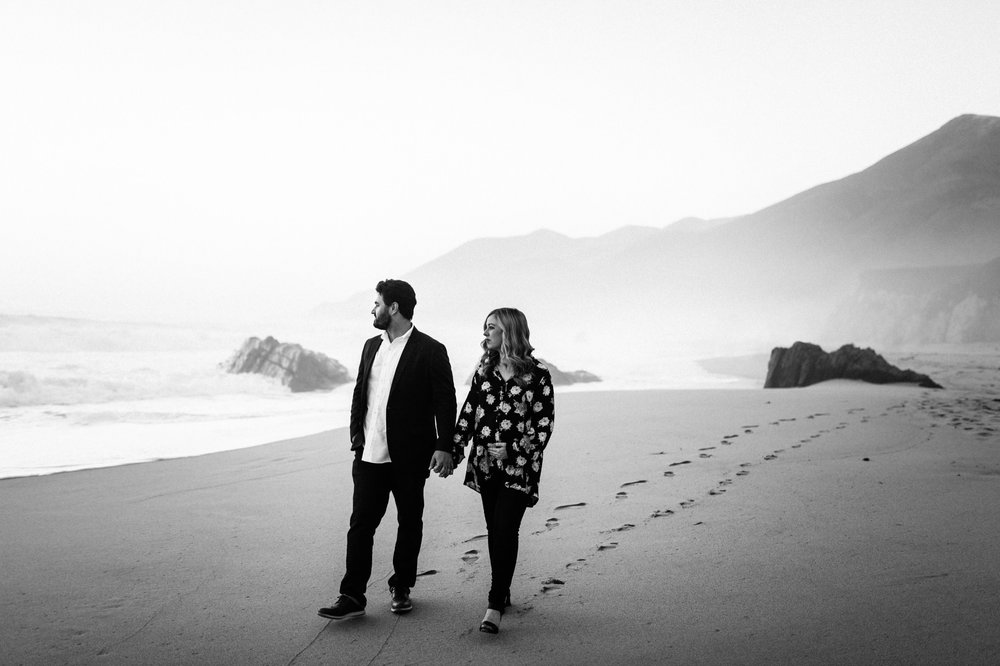 Couple Walking on Garrapata State Park Beach Photography