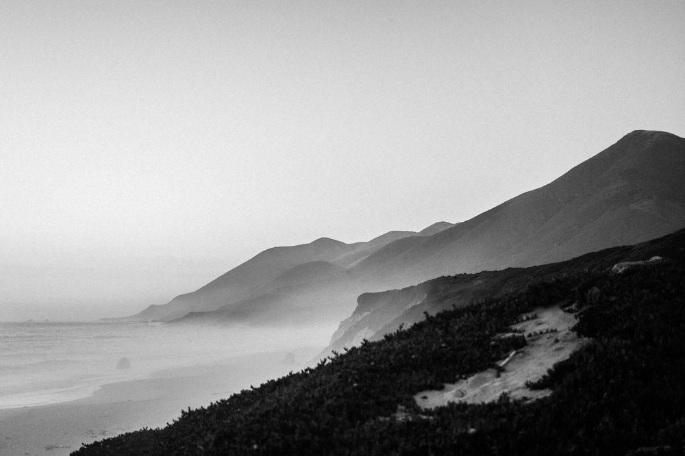 Garrapata State Beach Black & White at Sunset