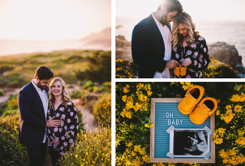 Garrapata State Park Pregnancy Announcement Photography Session Collage.jpg