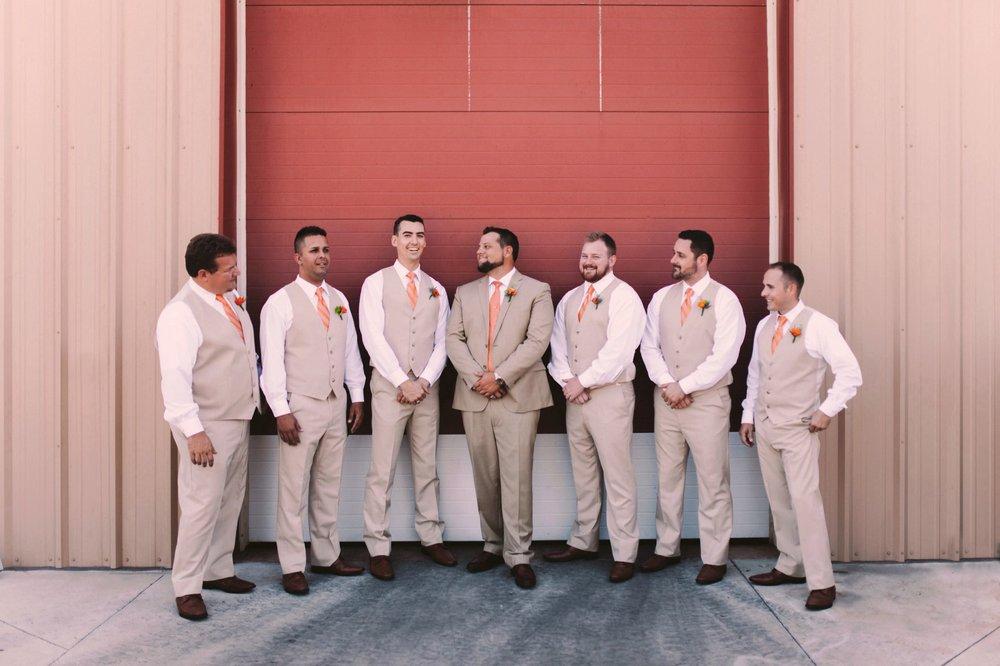 Pink and Orange Wedding Theme Groomsmen