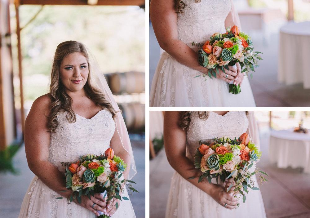 T-Cakes Fresno Wedding Florals Brides Bouquet Orange and Pink Flowers