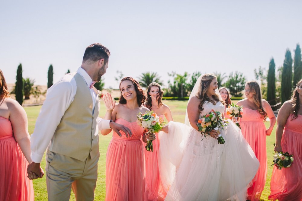 Laughing Bridemaids and Bridesman Fresno Toca Madera Wedding