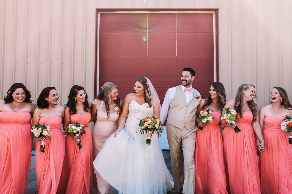 Bride with Bridesmaids, Bridesman and Mother - Laughing and Walking