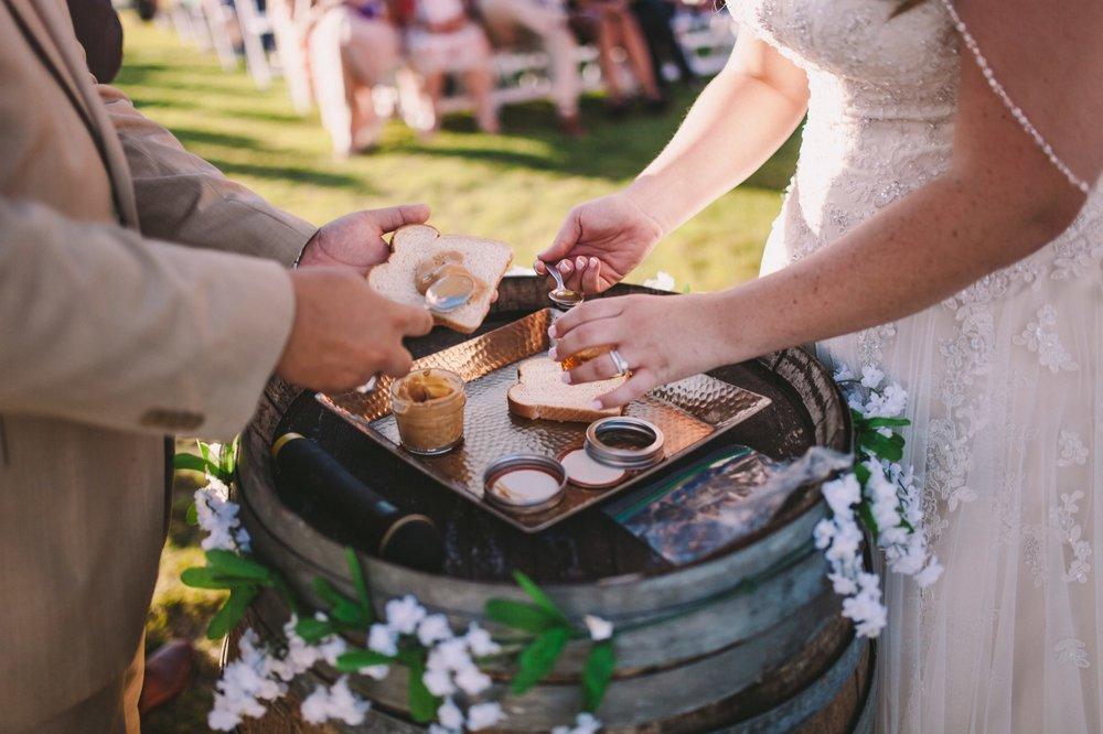 Unique Wedding Unity Ceremony - Making Peanut Butter & Honey Sandwich