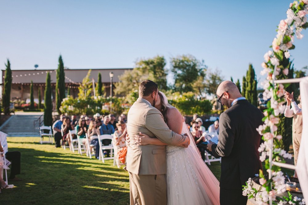 First Kiss Toca Madera Winery Vineyard Outdoor Wedding Ceremony