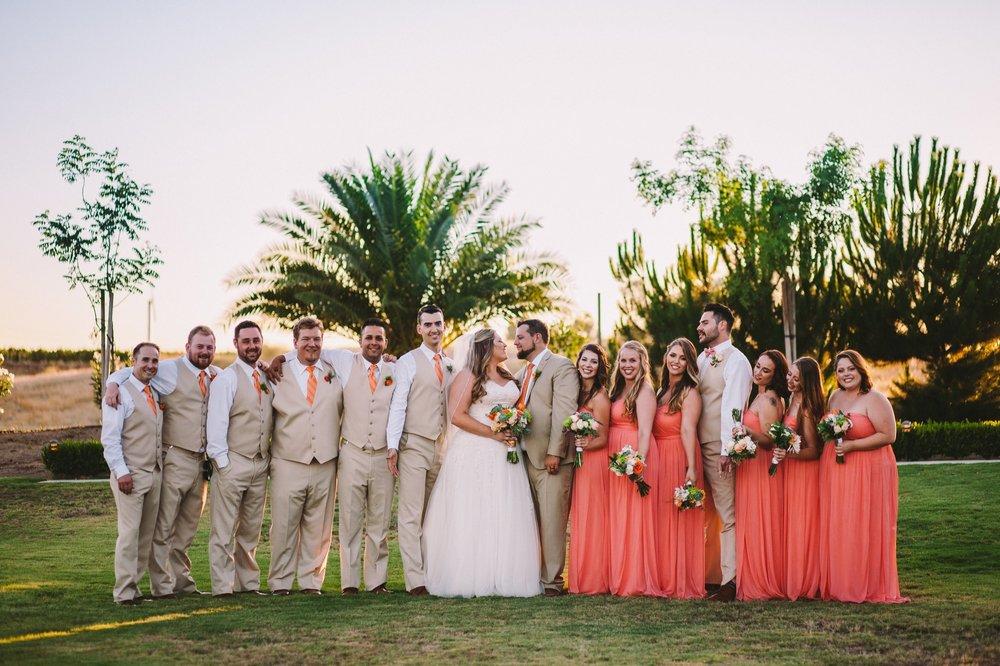 Bridal Party Group Portrait at Toca Madera Winery Vineyard