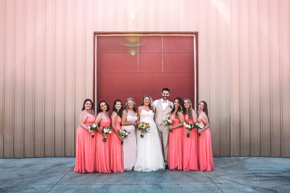 Colorful Photo of Bride with Bridesmaids, Bridesman and Mother