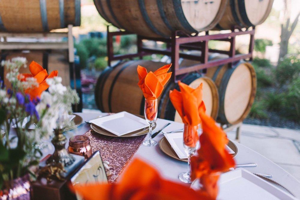Pink & Orange Wedding Reception Theme - Orange Napkins Serviettes & Pink Glitter Table Runner