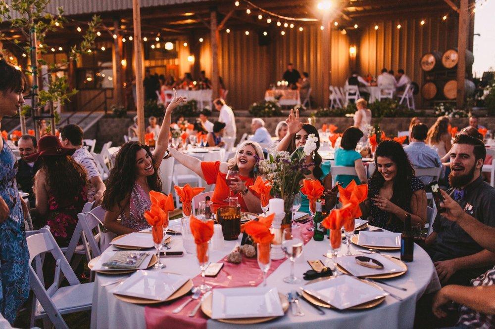 Evening Outdoor Wedding Reception at Toca Madera Winery Vineyard