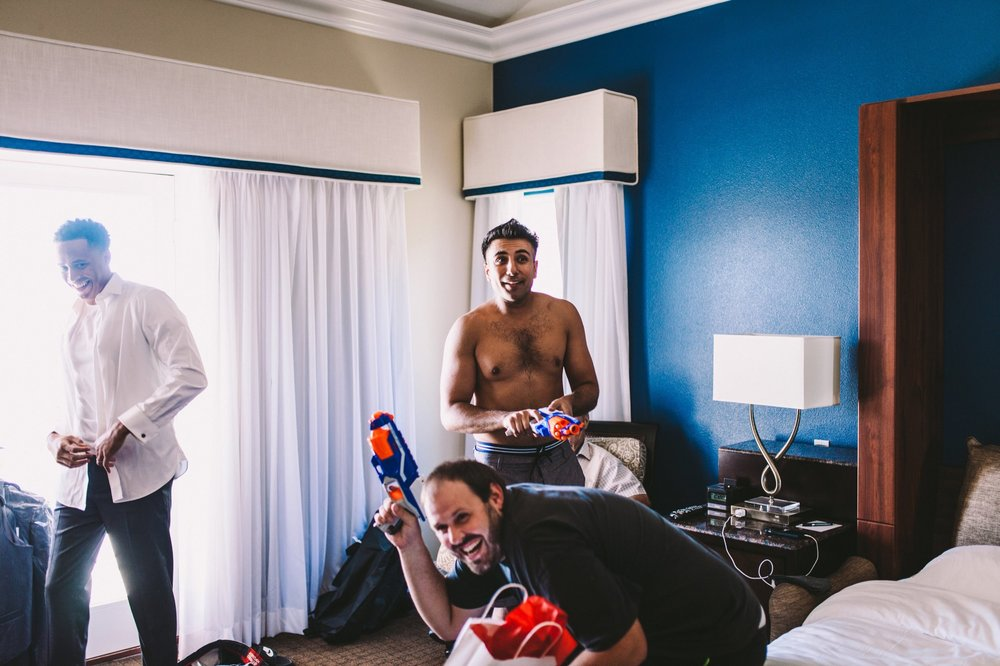 Nerf Gun Groom Prep Wedding Morning