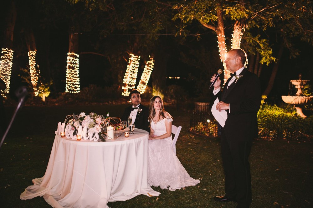 Falkner Winery Yard Garden Evening Reception Wedding Speeches
