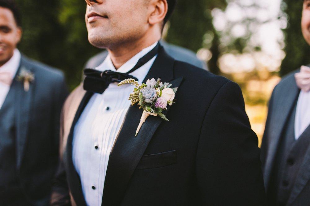 Elegant Black Wedding Tuxedo Succulent Boutonniere
