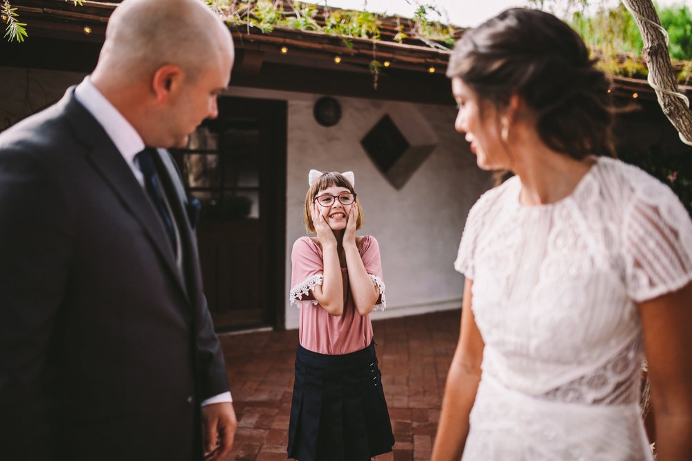 Bride & Groom First Look with Adorable Flower Girl With Cat Ears!