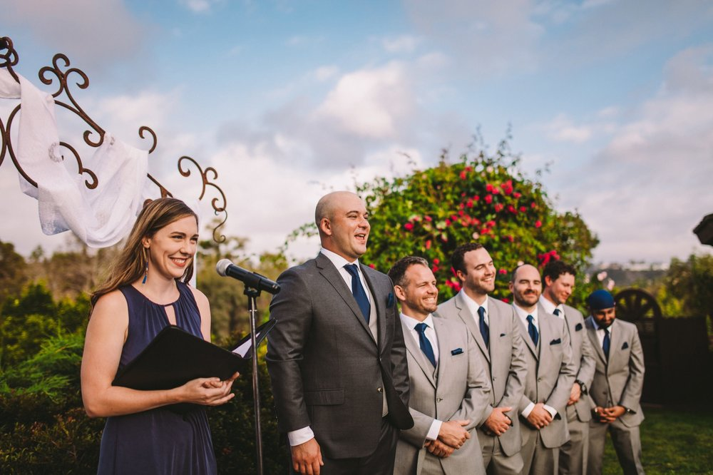 Groom Reaction to Bride Walking Down the Aisle at Old Ranco in San Diego