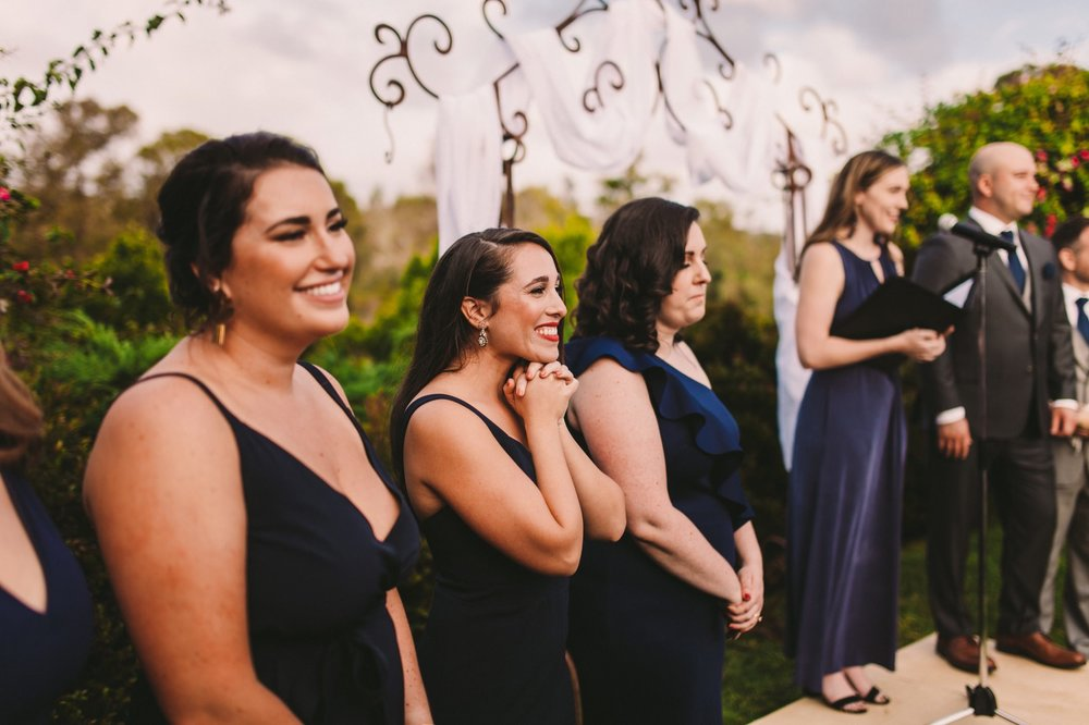 Bridesmaids Reaction to Bride Walking Down the Aisle in San Diego