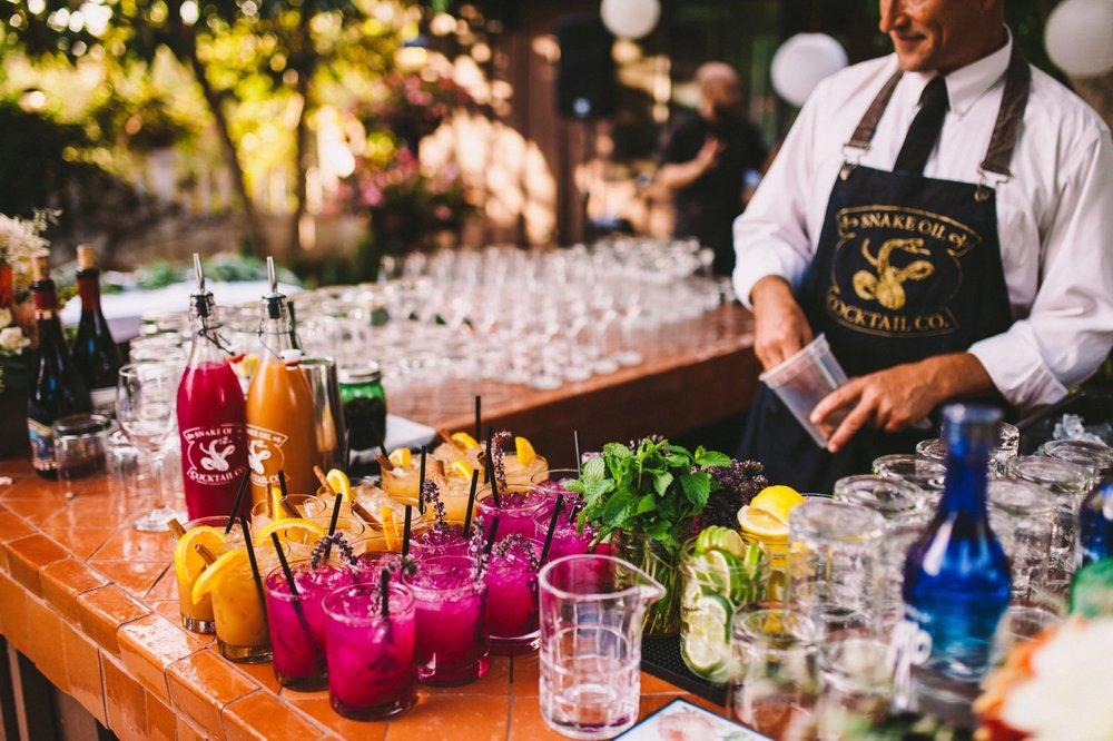 Wedding Drinks Being Served by Snake Oil Cocktails