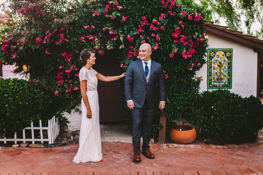 First Look in Front of Bougainvillea at The Old Rancho in Carlsbad