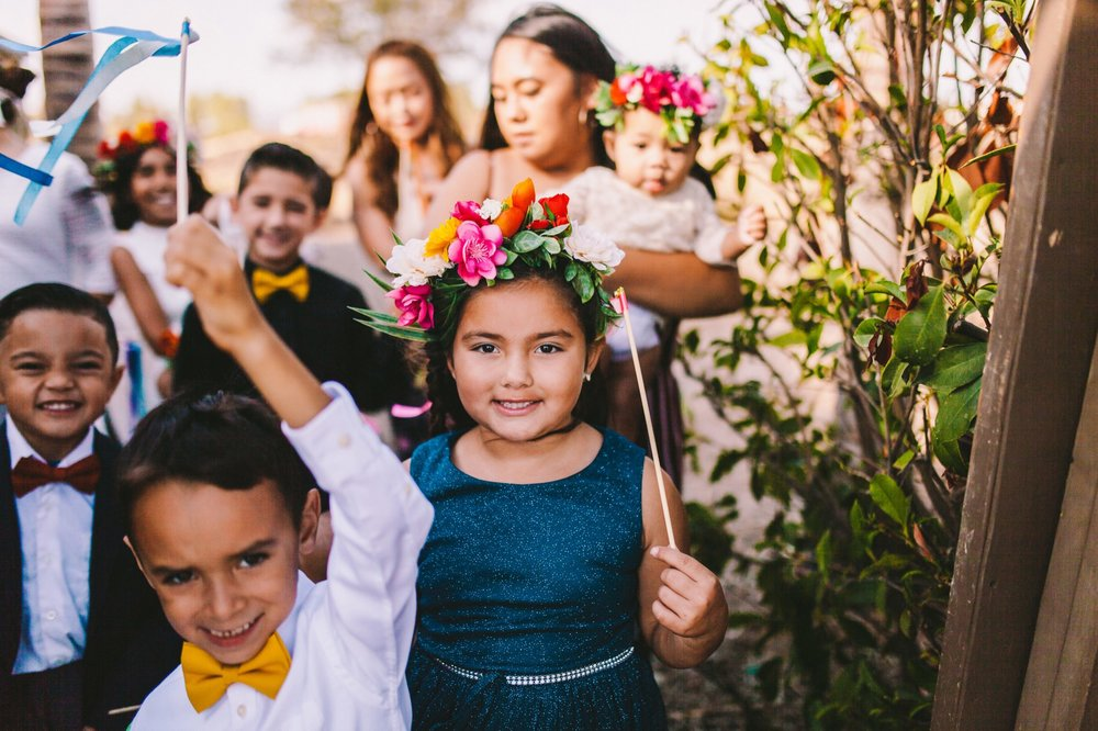 Yellow Bowties & Vibrant Flower Crowns for Flowers Girls & Ring Bearers