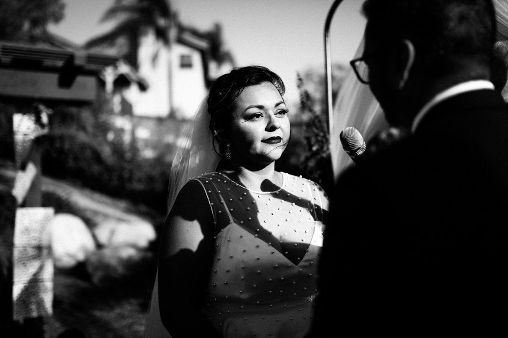 Bride's Reaction During Ceremony - Black and White Documentary Wedding Photography San Diego