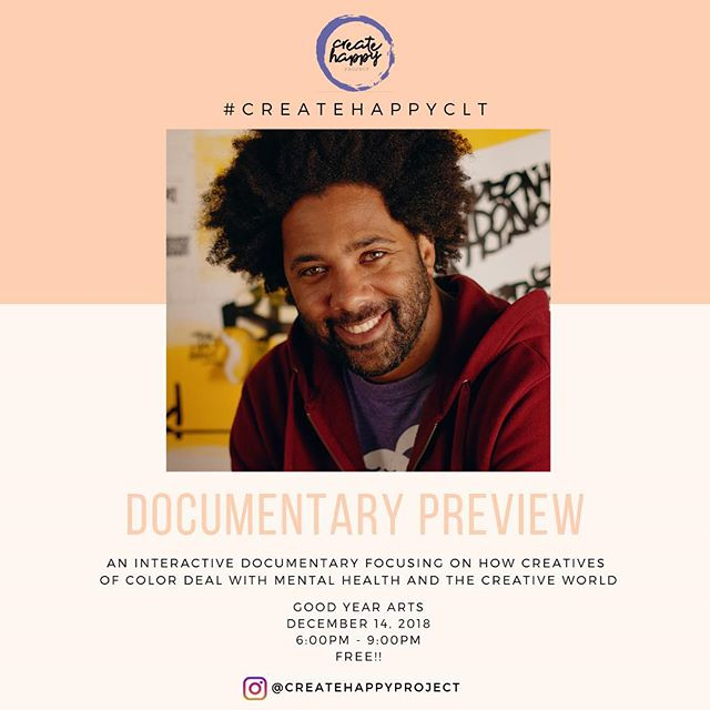 Come check out the screening of @createhappyproject documentary. Amongst other things, I talk about why I like weird shit, and why I believe happiness and gratitude should be fertile soil for creativity.