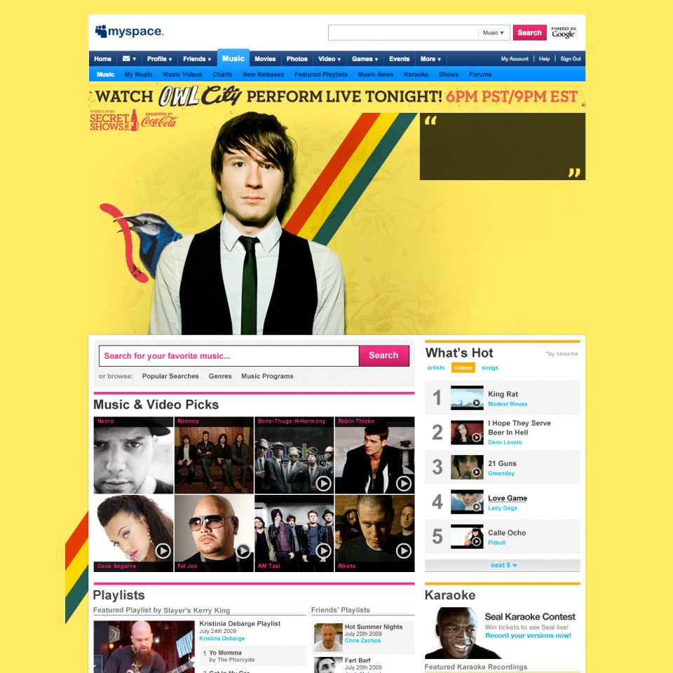 Owl City Homepage Takeover