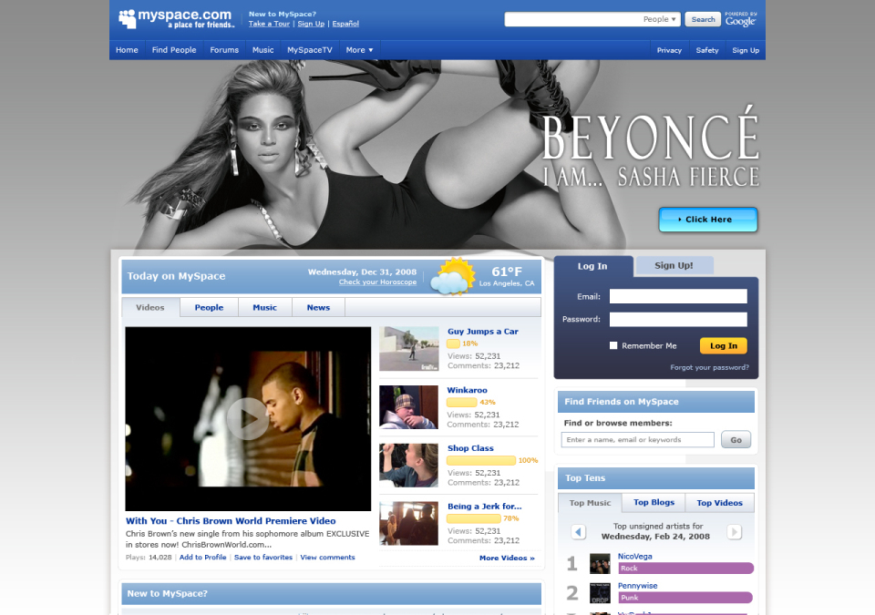 Beyoncé Homepage Takeover