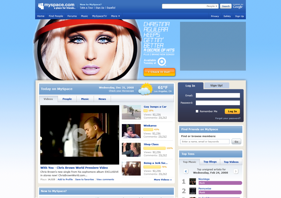 Christina Aguilera Homepage Takeover