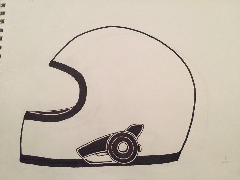 Sketch of helmet variant.
