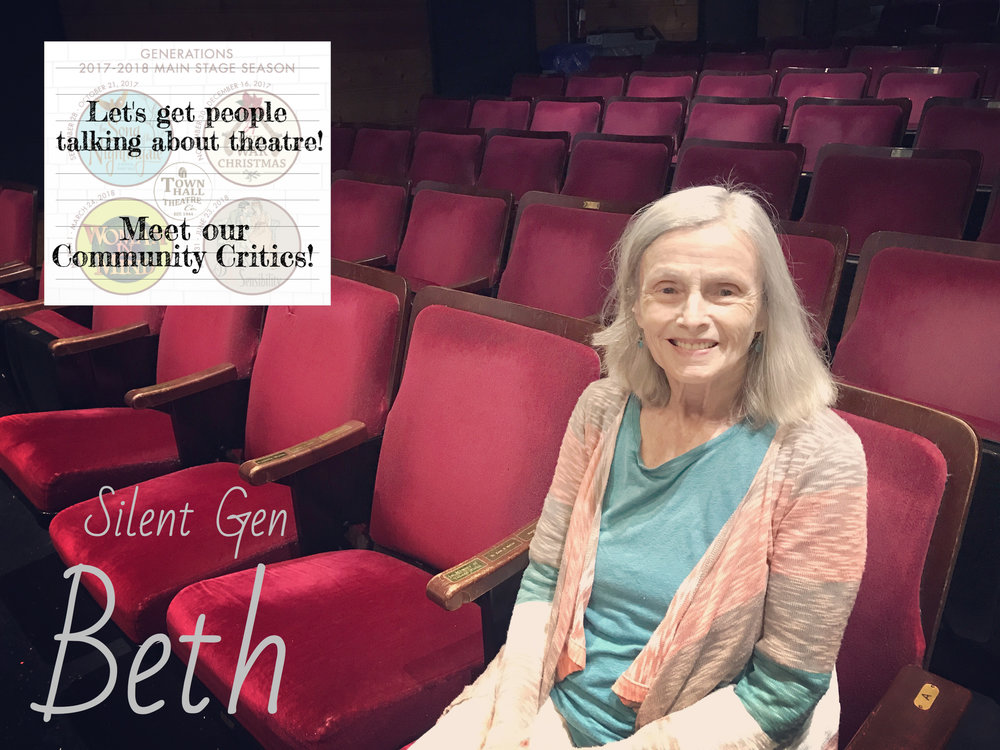 Beth - Bio coming soon!READ WHAT BETH HAS TO SAY ABOUT OUR UPCOMING SEASON!READ WHAT BETH HAS TO SAY ABOUT THE SONG OF THE NIGHTINGALE!READ WHAT BETH HAS TO SAY ABOUT A CIVIL WAR CHRISTMAS!READ WHAT BETH HAS TO SAY ABOUT WOMAN IN MIND!