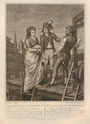 Charlotte Corday is led to her execution by guillotine.