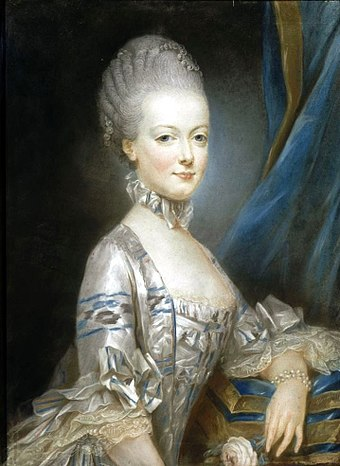 Marie Antoinette at the age of thirteen; this miniature portrait was sent to the Dauphin to show him what his future bride looked like (by  Joseph Ducreux , 1769)