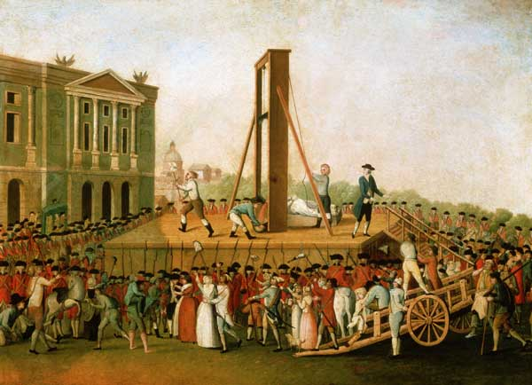 Marie Antoinette's execution on 16 October 1793: Sanson, the executioner, showing Marie Antoinette's head to the people (anonymous, 1793)