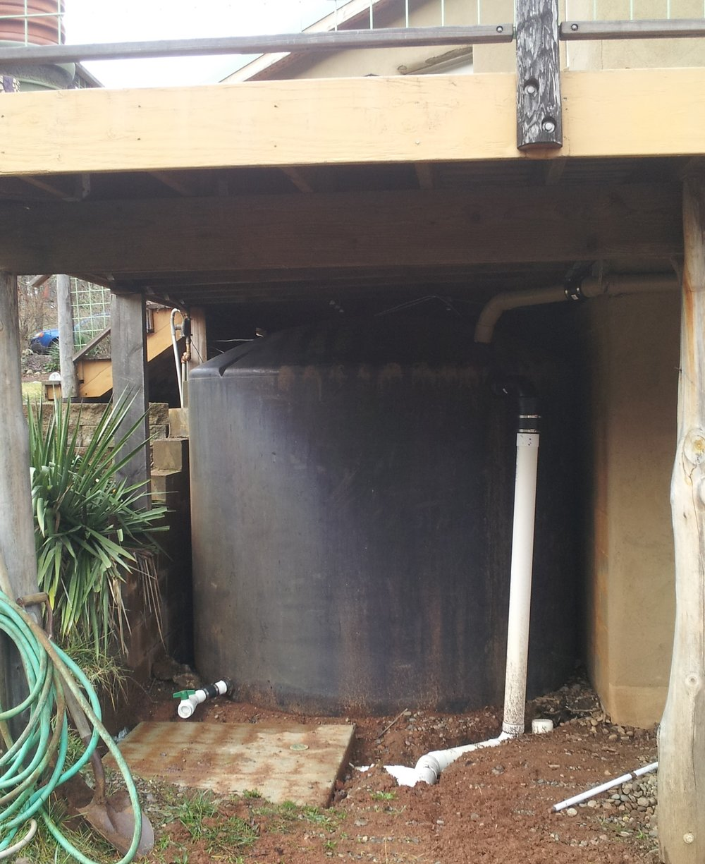 tanks located under deck protects from UV light degradation