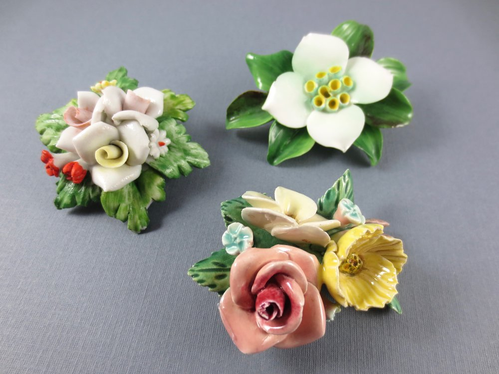 vintage porcelain brooches