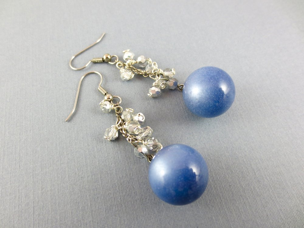 Blue Marble Bead Earrings